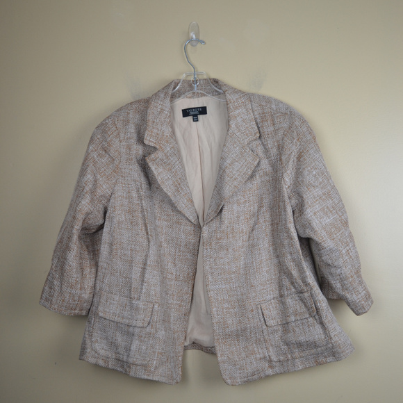 Talbots Jackets & Blazers - Talbots Women's Tan and Gold Tweed Open Blazer